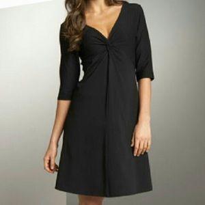Eileen Fisher Crepe Twist Front Dress Black Medium